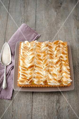 Rectangular-shaped lemon meringue pie
