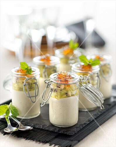 Vanilla panna cotta,stewed kiwi and maple syrup granita