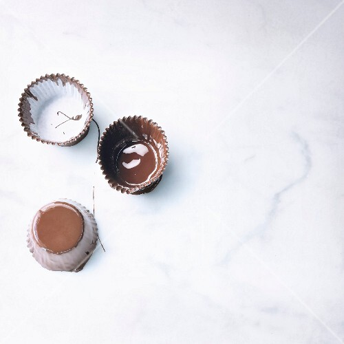 Paper cups coated in chocolate