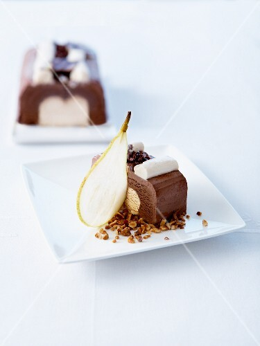 Slice of chocolate-hazelnut ice cream log