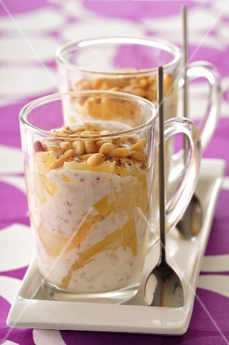 Coconut mousse with pineapple and pinenuts