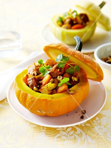 Spicy beef and pumpkin stew served in a pumpkin shell
