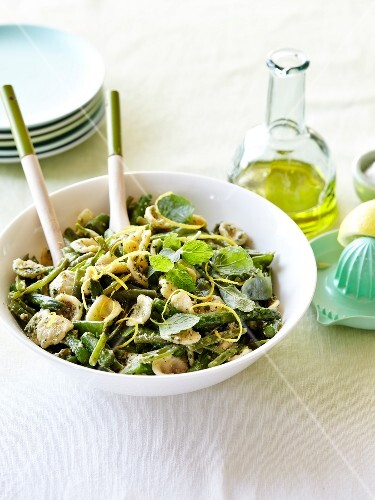 Orecchiette,green asparagus,mint and green bean salad with lemon zests