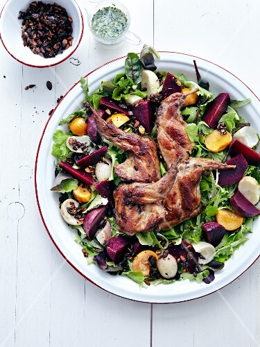 Rabbit,beetroot,onion,turnip and grilled pine nut salad