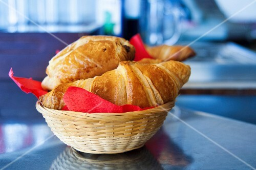 Basket of milkbread pastries on the counter
