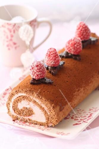 Chocolate-raspberry log cake