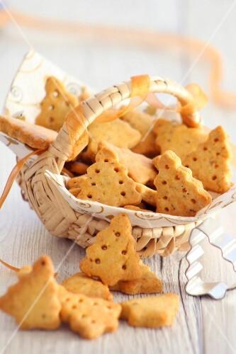 Christmas tree-shaped shortbread cookies