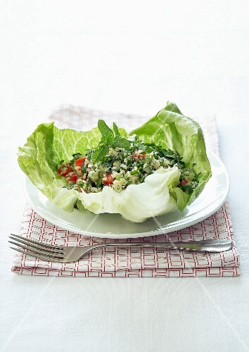Lebanese taboulleh served in lettuce leaves
