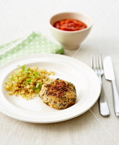 Ground chicken and herb patty with wheat and parsley