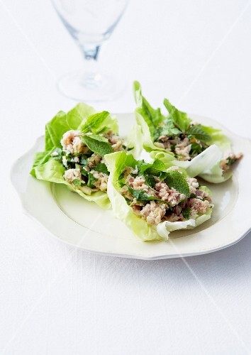 Potted rabbit with fresh herbs served in lettuce leaves