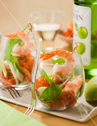 Chorizo, green apple and shrimp cocktail