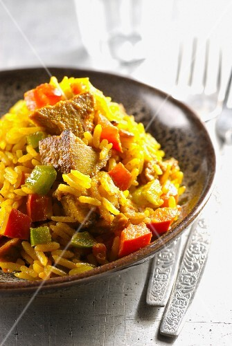 Seasonned rice with pork and peppers