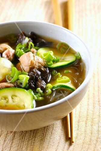 Pork, zucchini, black mushroom and soya noodle soup