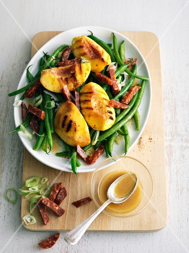Green bean, chorizo and grilled peach salad