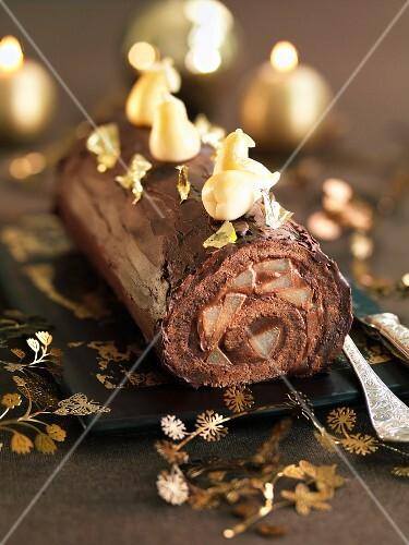 Belle-Helene-style Christmas log cake