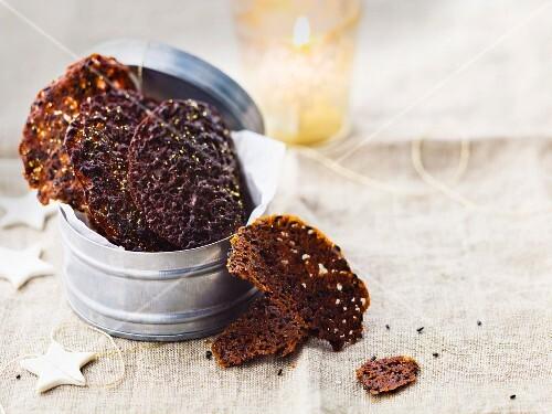 Choco-caramel and sesame seed tuiles