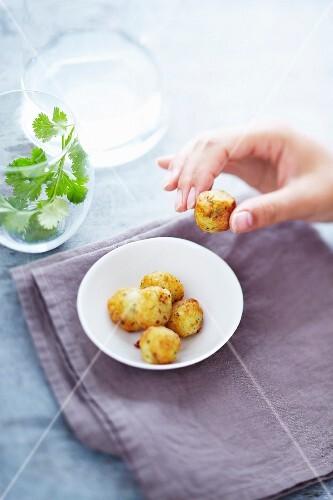 Salt-cod and cilantro fishballs