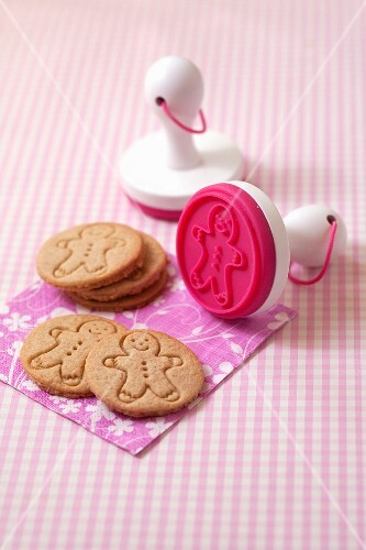 Cinnamon cookies stamped with a man