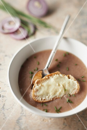 Red onion and apple soup, Camembert spread on sliced bread