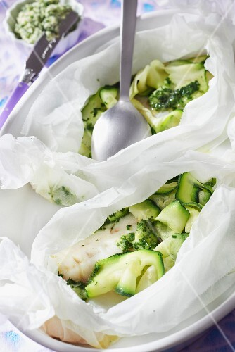 Whiting fillets cooked in wax paper, dill and chive butter