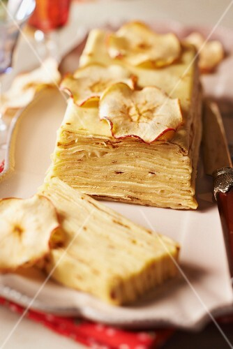 Crepe and apple terrine