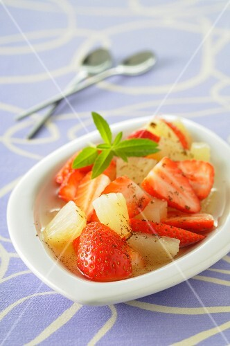 Pineapple and strawberry fruit salad