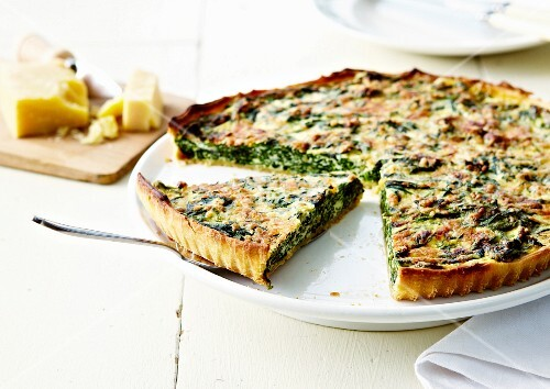 Spinach and parmesan quiche