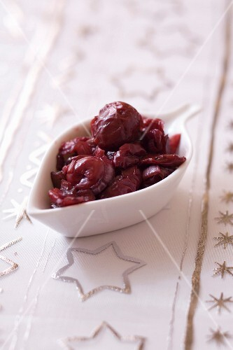 Small bowl of griotte sour cherry-orange sauce