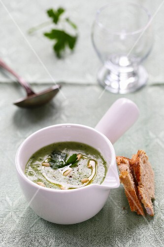 Creamed potato,parsley and pine nut soup