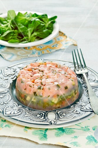 Salmon and vegetables in aspic