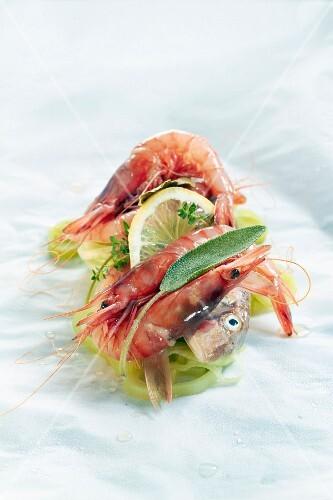 Mulet with shrimps,lemon and sage