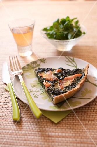 Salmon-spinach savoury tart