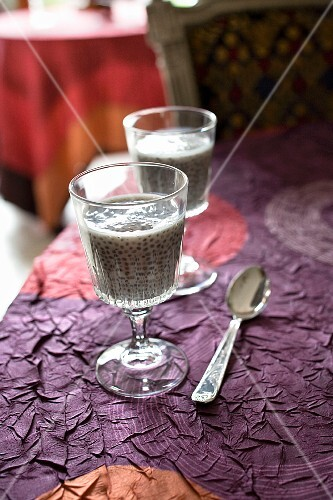 Glasses of Chia seeds and almond milk