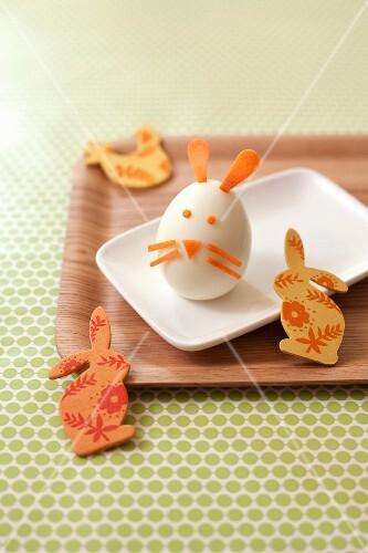 Hard-boiled egg bunny