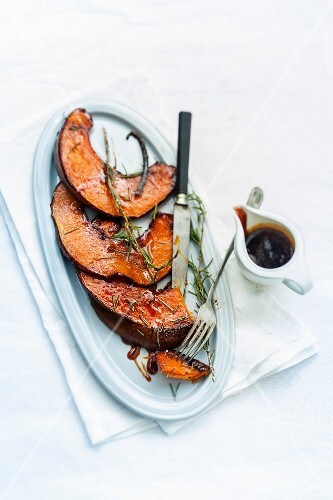 Roasted pumpkin with vanilla-flavored caramel and rosemary