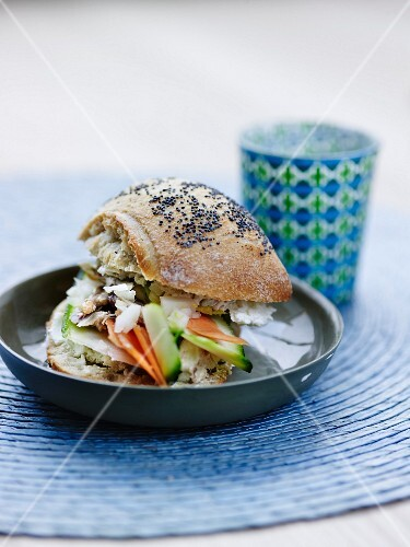 Mackerel and thinly sliced vegetable granary bread sandwich