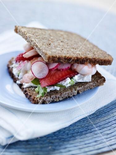 Shrimp,strawberry and radish black bread sandwich