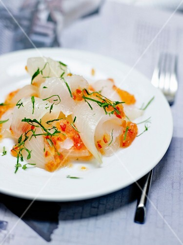John Dory Sashimi,Thai sauce and pickled onions
