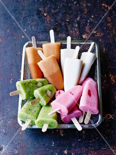 Assortment of different flavored fruit ice cream bars