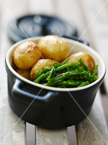 Grenaille potatoes and samphire