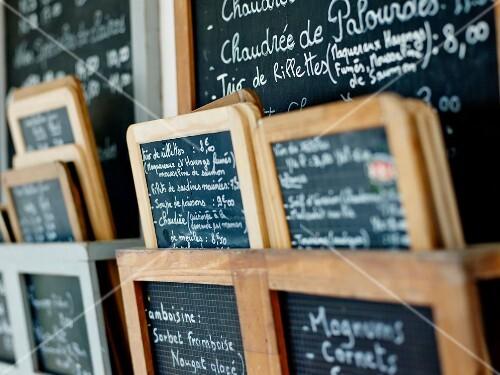 Restaurant menus on slates