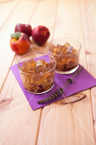 Nectarine crumble with diced lavander jelly