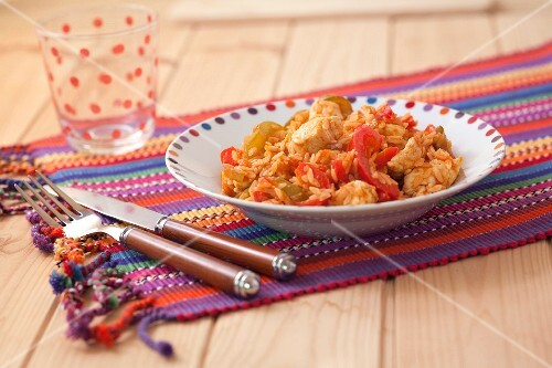 Pan-fried Oaxaca chicken with red and chili peppers
