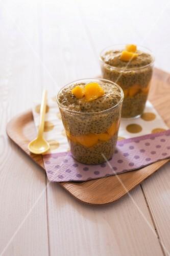 Chia seed,mango and coconut milk desserts