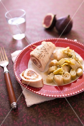 Turkey fillet and fig roll,stewed leeks