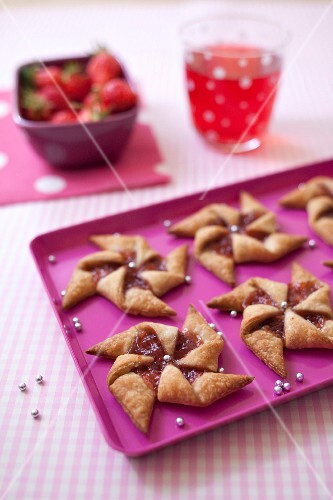 Strawberry jam windmill cookies