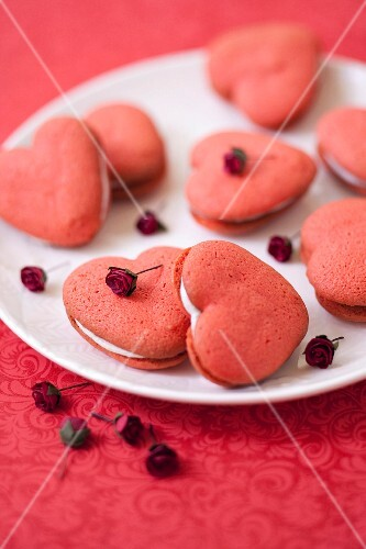 Rose water and vanilla heart-shaped whoopie pies