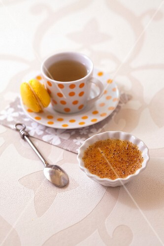 Small lemon Crème brûlée and a cup of tea