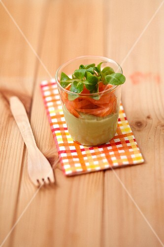 Avocado puree and smoked trout starter
