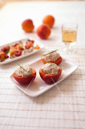 Apricots garnished with mackerel paté